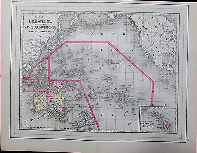 Oceanica Islands Australia Sandwich Hawaii 1894 scarce 19th century antique map