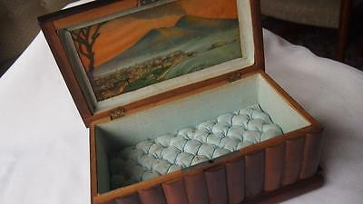 Antique Sorrento Ware Carved & Painted Jewelry Box - 1920s - Secret Compartment