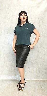 GREEN LACOSTE POLO T SHIRT Cropped Vintage Chemise Grunge Sport Golf Crocodile S