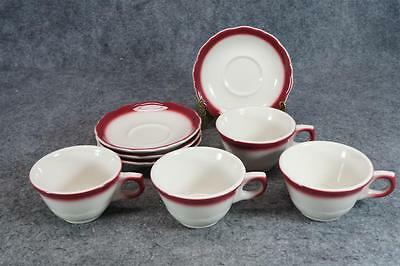 Syracuse China Restaurant Red Cup & Saucer Set Of 4 C. 1960