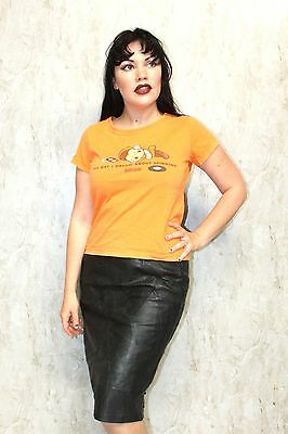 VINTAGE RAVER T SHIRT Orange DJ All Day I dream about Spinning Cute 90s Grunge S