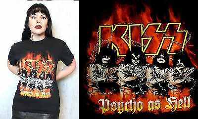 VINTAGE KISS Official Merchandise T shirt Psycho as Hell Rock and Roll over BAND
