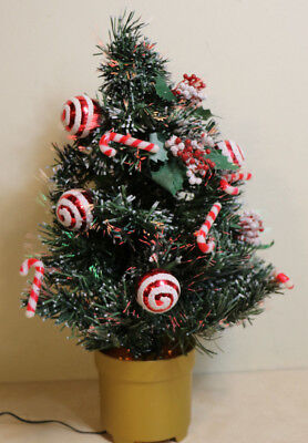 """24"""" Fiber Optic Color Changing Christmas Tree Ornaments & Candy Canes"""