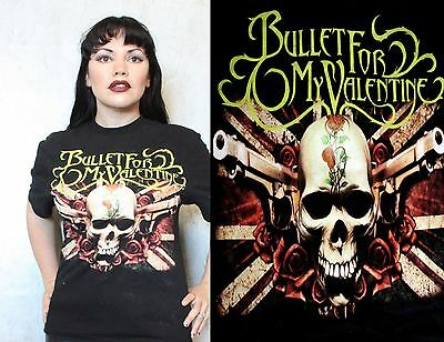 BULLET FOR MY VALENTINE Mens Large T shirt Skull Guns and Roses Band Tour Music