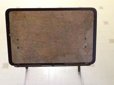 Vintage United States Map Replogle Globes Reading Stand, Table