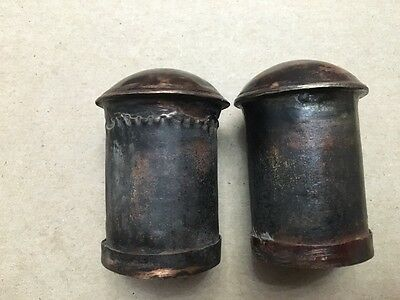 Antique Mongolian Buddhist Hand Made Copper Pair Of Thangka Knob Dowel Ends