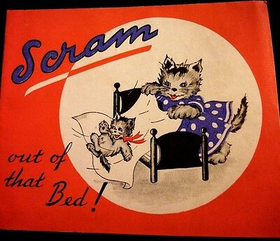 Vtg Greeting Card  1940's  GET WELL  MAMA CAT Kitten  w/ LITTLE STORY
