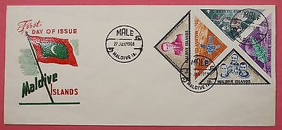 1968 Maldives Space Triangles W/ 5R High Value Fdc Cachet Cover