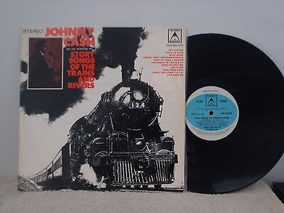 JOHNNY CASH - LP -  STORY SONGS OF THE TRAINS AND RIVERS - 1970's
