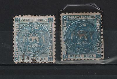 Ecuador 1873 -1881 Half Real First Perforated Emission Blue Color Variety Sc# 9