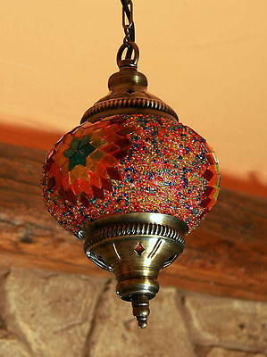 Antique Style Handmade Turkish Mosaic Hanging Lamp Vintage Stained Glass
