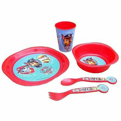 Kids Childrens Paw Patrol Plastic 5 PC Meal Cutlery Plate Bowl Cup Dinner Set