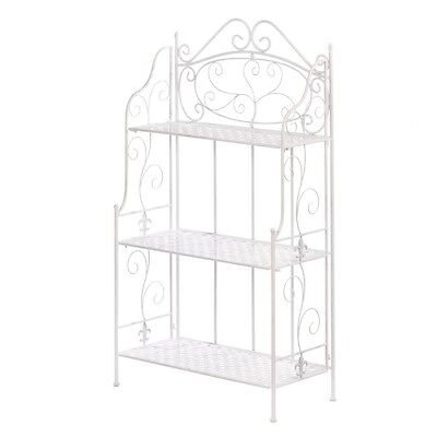 White Basket Weave Bakers Rack Features Three Shelves for Kitchen New