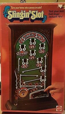 Rare~Vintage Slingin' Slot penny arcade game 1973~ tested and working! w/Tokens!