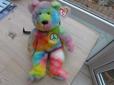 "TY Beanie Buddy ""Peace (very vivid colours) Bear "" Made in China, P.E Pellets."