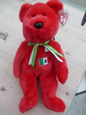 "TY Beanie Buddy ""Osito the Mexican Bear"" Made in China, P.E Pellets."