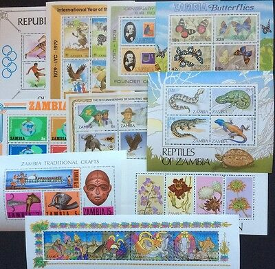 Attractive selection of MNH miniature sheets MS ZAMBIA