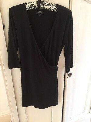 Isabella Oliver Black Maternity Wrap Long Jersey Top, Size Medium (10/12/14)