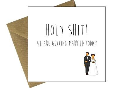ON OUR WEDDING DAY CARD Comedy Funny Congratulations Husband Wife to be / GG