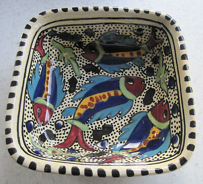 Stunning Hand Painted Square Bowl Fish Pattern Studio Art Pottery