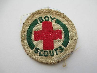 """Vintage Boy Scout Patch Badge - """" + """" - RED CROSS (First Aid Badge)"""