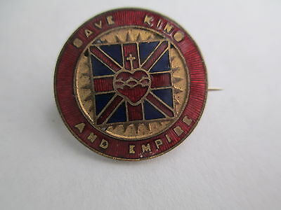 SAVE KING AND EMPIRE.  Gilt & Enamel Brooch Badge. Quality !