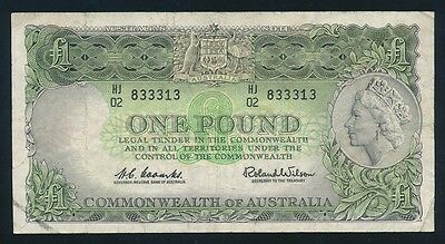 """Australia: 1961 QEII £1 Reserve Bank. RARE LUCKY NUMBER """"333"""" in Serial"""