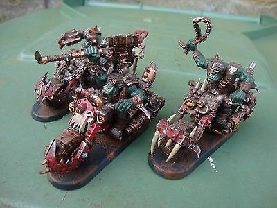 Warhammer 40K Orc Warbike  Squad X3 3 - Well Painted