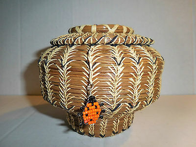 Pine Needle Basket, Approx. 5 by 4.5', Spiderweb design