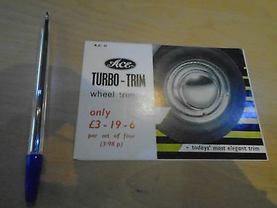 ACE Turbo-Trim Wheel Trim Brochure and fitting guide for 1960/70's cars 1970