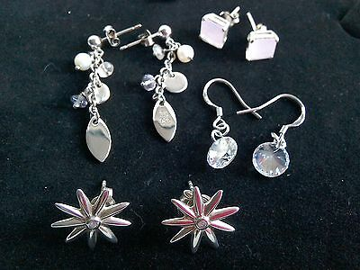 EARRINGS STERLING SILVER JOBLOT NOT SCRAP 4 x PAIRS .DIAMOND.NICE SELECTION 4