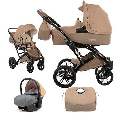 Knorr Baby 3in1 Kinderwagen + Autositz Voletto Happy Color grau-beige 3200-01