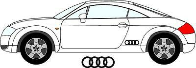 2 x Audi Rings Side Skirt Stickers, Decals Choice Of Colours Type 1