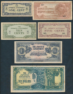 Malaya: JAPANESE OCCUPATION WWII 1942-1944 1 Cent to $10. SCARCE SET of 6 notes