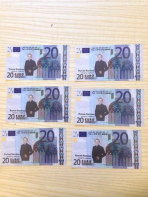 Lot 6 souvenirs 20 EURO banknotes from Lithuania