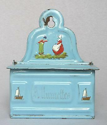 Vintage French Allumettes Matches Enameled Box ~ Blue w/Hand Painted Scene