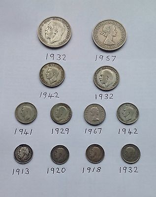 Collection Of 12 British Silver Coins
