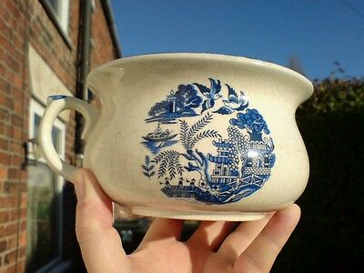 Victorian/Edwardian BLUE & WHITE TRANSFER PRINTED CHILD'S CHAMBER POT.