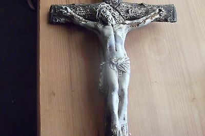 ANTIQUE PLASTER ON WOOD CRUCIFIX!! Very Very Old!!