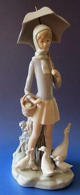 Lladro Porcelain Figurine Girl With Goose and Goslings and Brolly