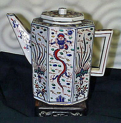 Superior Antique Signed Chinese 8 Sided Large Porcelain Teapot Flying Dragons
