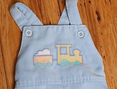Vintage HEALTHTEX USA Corduroy Bib Overalls Train Applique Pants Size 9 mos