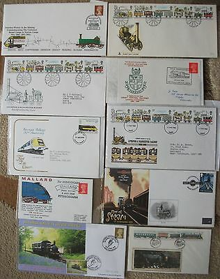Lot 10x Railway commem & first day covers - Liverpool & Manchester, Rocket, etc.
