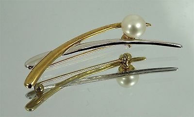 Ladies Two Tone 9ct Gold PEARL Brooch Pin Hm 4.5cm