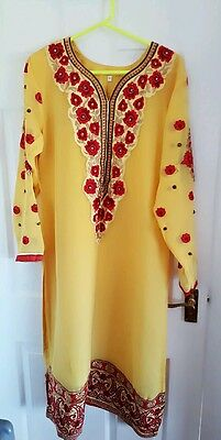 Yellow ready made size large indian salwar kameez and party wear