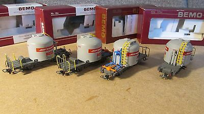 Bemo set of 4 RhB cement wagons HOm  (used)
