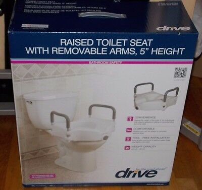 """Drive Medical Raised Toilet Seat With Removable Arms, 5"""" Height Brand New"""