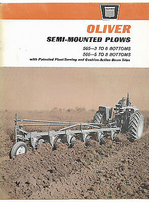 1965 Oliver 565 566 Semi-Mounted Plow Brochure 1650 1850 1800 Tractor