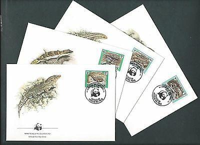 CAPE VERDE 1986. WWF OFFICIAL FDC. ENDANGERED REPTILES. Set of 4 covers (75)