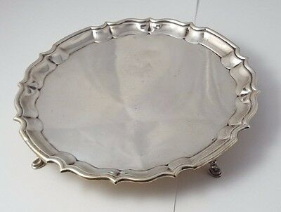 "ANTIQUE - SOLID SILVER - FOOTED - SALVER TRAY - RARE - HALLMARKED - 8"" - 330.0g"